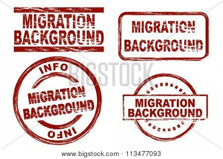 Set of stylized ink stamps showing the term migration background.