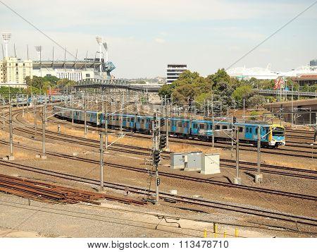 Metro rails and MCG near Flinders Street Station