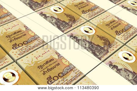 Thai baht bills stacks background. Computer generated 3D photo rendering.