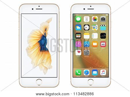 Gold Apple Iphone 6S Front View With Ios 9 And Dynamic Wallpaper On The Screen
