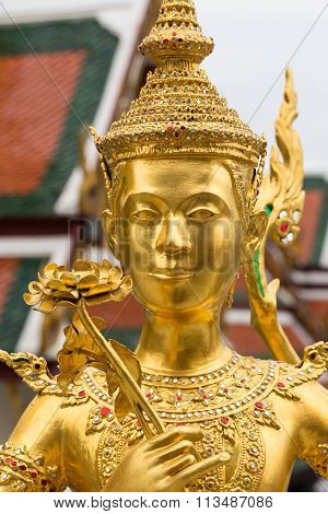 Temple or wat in Bangkok Thailand. Kin-naree sculpture is mythological creature, half of bird and gi