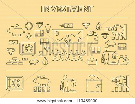 Line Design Concept Horizontal Banner For Investment