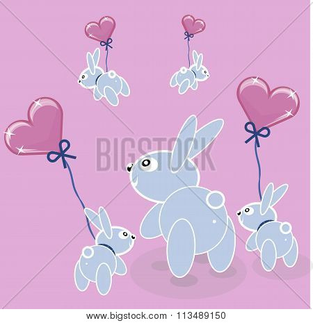 Easter cute bunnies mate, mating season. vector advertising  condoms, valentines day