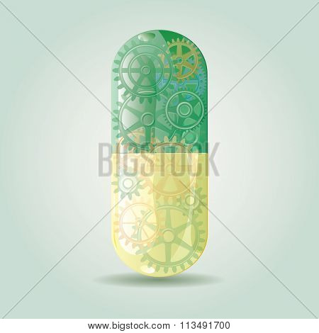 vector symbolic abstract illustration with futuristic green smart pill