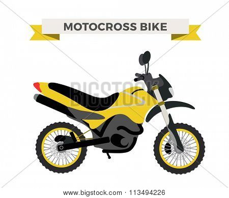 Vector motorcycle illustration. Motorcycle isolated on white background. Cross bike, sport bike vector. Motorcycle moto bike illustration. Bike isolated vector
