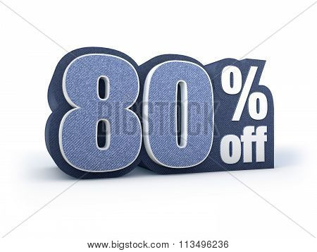 80 Percent Off Denim Styled Discount Price Sign