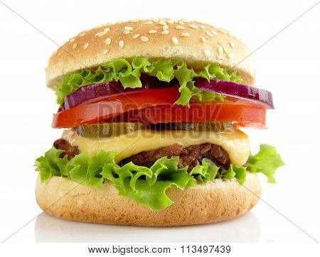 Big Cheeseburger Isolated On White Background