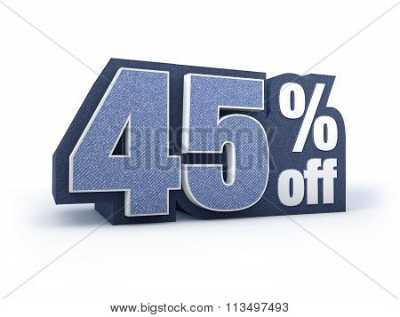 45 Percent Off Denim Styled Discount Price Sign