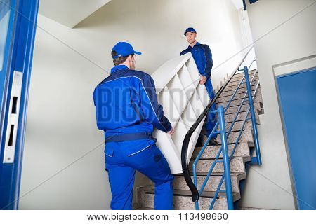 Movers Carrying Shelf While Climbing Steps At Home