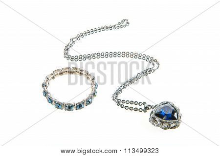 jewelry necklace and bracelet set isolated on white background poster
