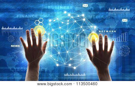 Hand pressing blue virtual button