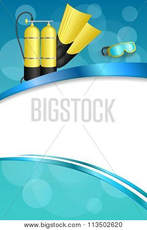 Background abstract blue diving sport yellow aqualung flippers mask frame vertical ribbon