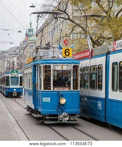 Trams On The Bahnhofstrasse Street In Zurich, Switzerland