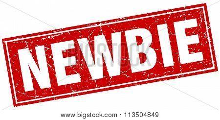 Newbie Red Square Grunge Stamp On White