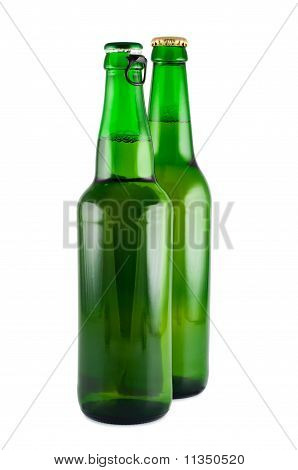 Two Bottles Of Beer A Picture In Studio Isolated On White.