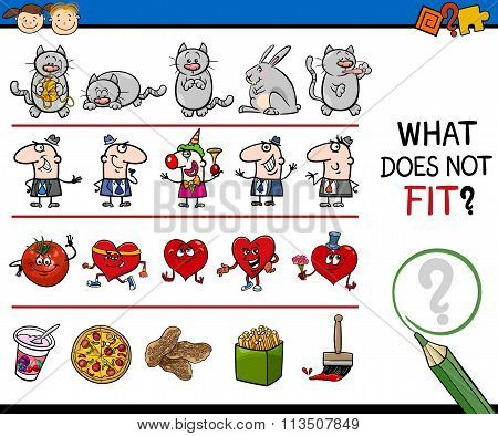 Cartoon Illustration of Finding Wrong Item in the Row Educational Task for Preschool Kids poster
