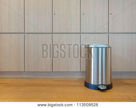 Pedal Bin On Wooden Floor