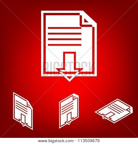 File download iconset. Isometric effect