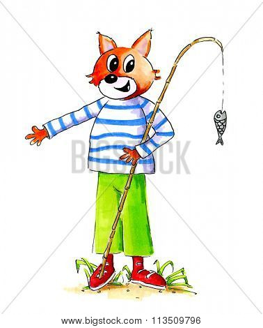 Hand drawn illustration of cat with fishing rod isolated over white background