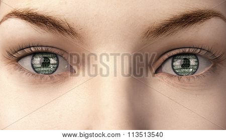 Woman With Binairy Code In Here Eyes