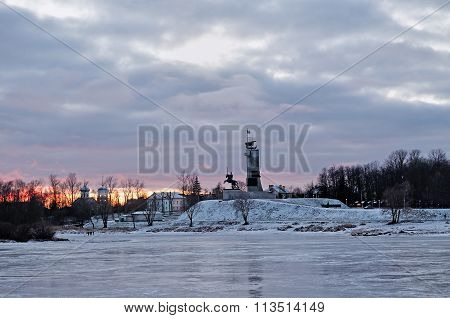 Victory Monument And Trinity Church In Veliky Novgorod, Russia