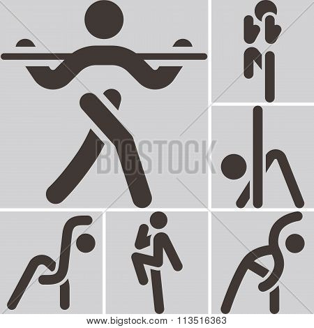 Aerobics Icons Set