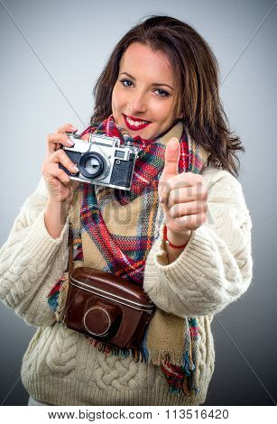 Smiling Happy Female Photographer