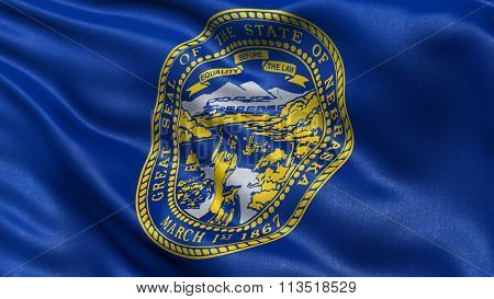 US state flag of Nebraska with great detail waving in the wind.