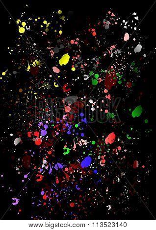 Colorful splash over black background