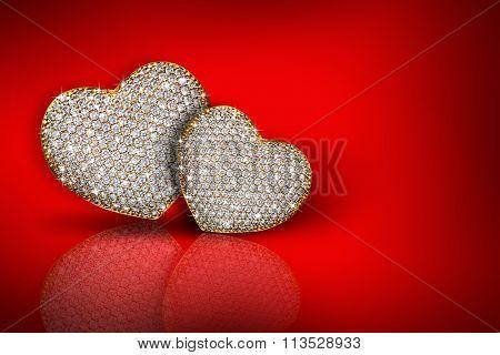 Heart diamond composition. Valentine's day background