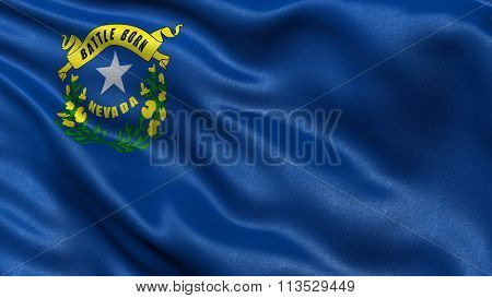 US state flag of Nevada with great detail waving in the wind.