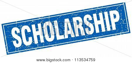 Scholarship Blue Square Grunge Stamp On White