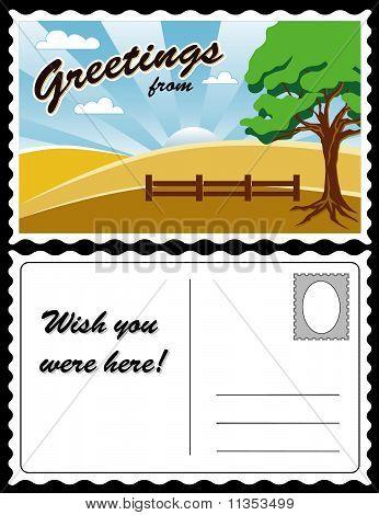 Postcard, Country Landscape