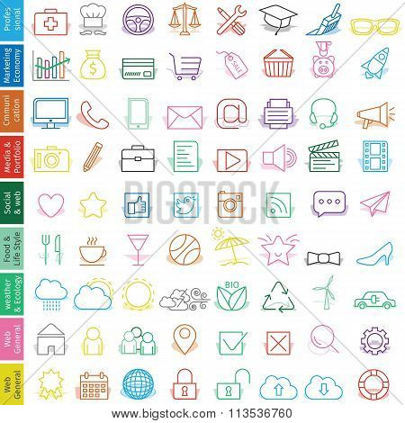 Trendy illustration of web icons set