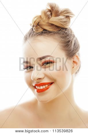 young blond woman with bright make up smiling pointing gesturing emotional isolated like doll lashes
