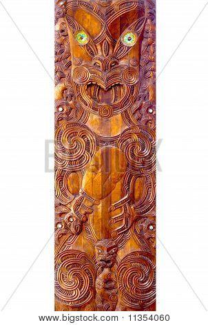 A close up of a Maori Poupou carving