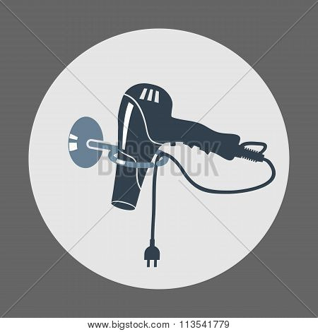 Hairdryer, blow dryer with two-pin plug on stand icon. Hairdresser tool symbol. Round gray colored s