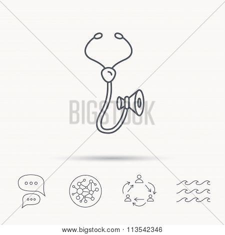Stethoscope icon. Medical doctor equipment.
