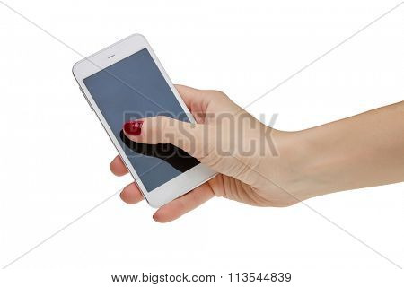 Female hand holding a smart phone. Clipping path.