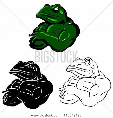 Frogs Strong Mascots .eps10 editable vector illustration design
