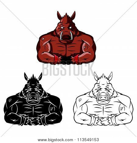 Wild Boars Strong Mascot .eps10 editable vector illustration design