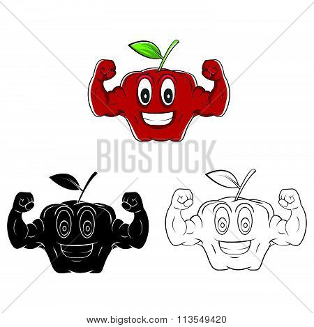 Coloring book Strong Apple cartoon character - vector illustration .EPS10