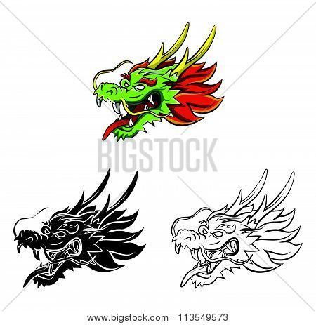 Coloring book Dragon cartoon character
