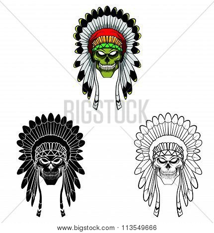 Coloring book Apache Head cartoon character
