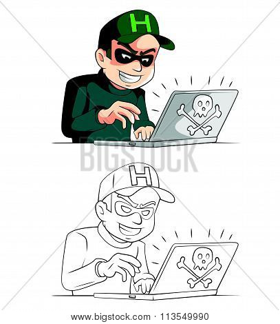 Coloring book. Hacker cartoon character. Vector illustration on white background
