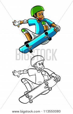 Coloring book SkateBoard cartoon character