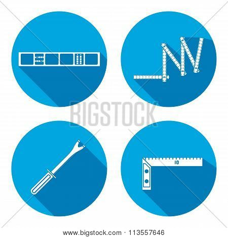 Building tool icon set. Rule, clinometer, angle and pinchbar. Fix, control, measure symbol. Round si