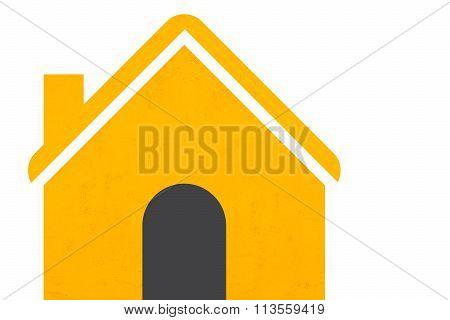 Yellow House Icon Set On White
