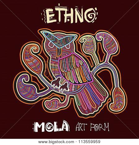 Vector Ethnic Design Element. ETHNO. MOLA Art Form. Mola Style Bird. Ethno Bright Decorative Illustr