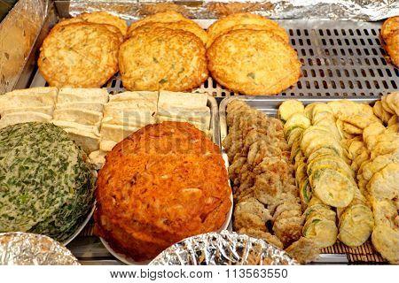 Korean pancake sold on market stall